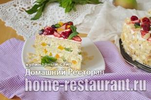 бисквитный торт с фруктами фото_20
