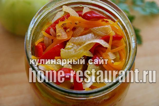Салат из зеленых помидор на зиму «Цветик семицветик»_6