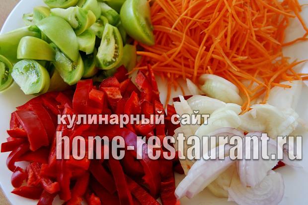 Салат из зеленых помидор на зиму «Цветик семицветик»_8