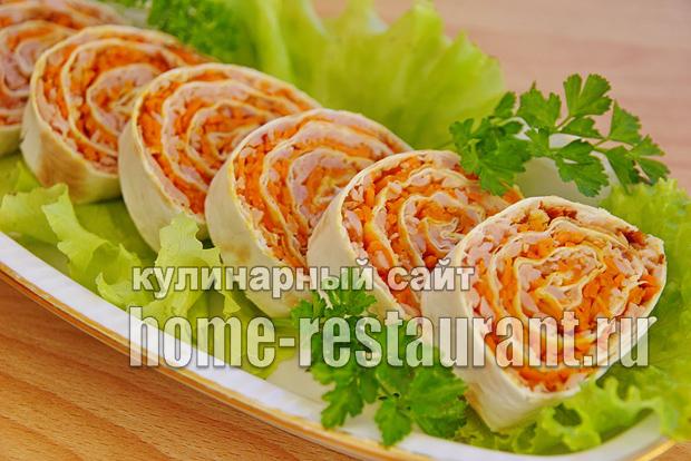 Лаваш с корейской морковью и ветчиной «5 минут»_03