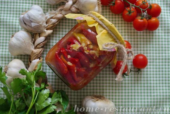 перец на зиму в томате с чесноком