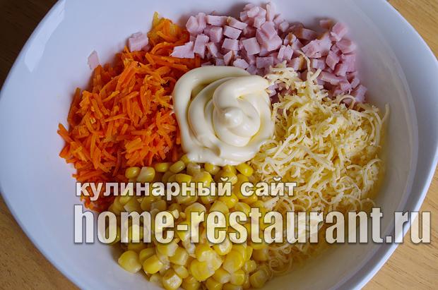 Салат в тарталетках с ветчиной и корейской морковкой_05