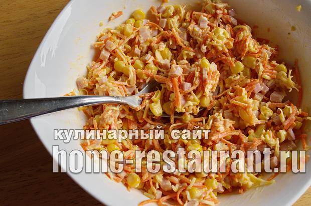 Салат в тарталетках с ветчиной и корейской морковкой_06