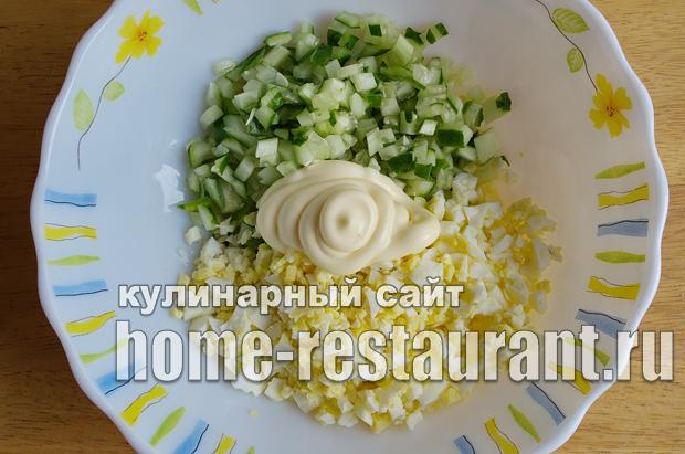 Салат в тарталетках с яйцом и огурцом_3