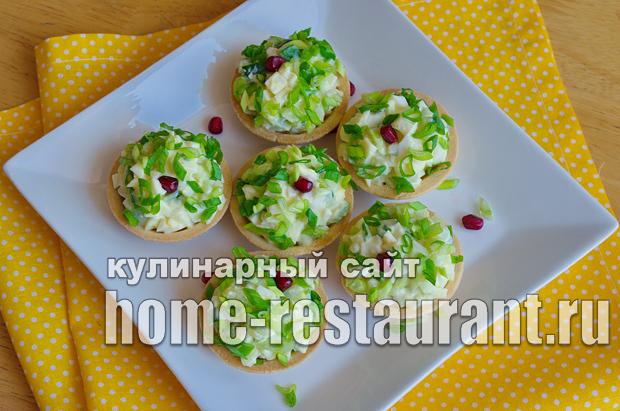 Салат в тарталетках с яйцом и огурцом_7