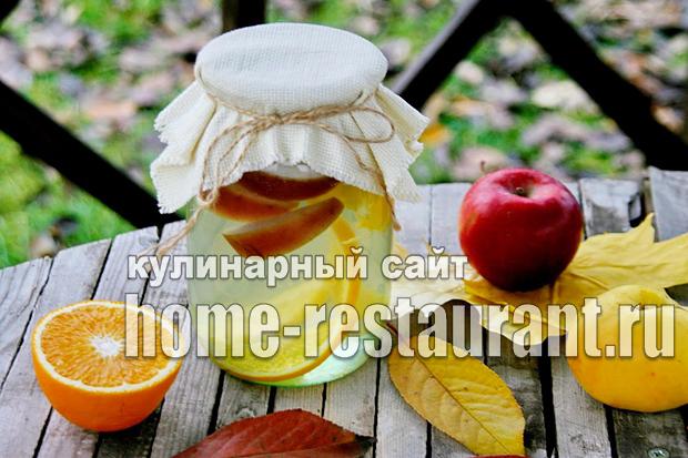 Компот из яблок на зиму с апельсином фото_03