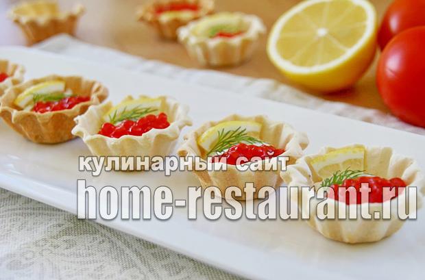 Закуска с красной икрой в тарталетках с сырно-сметанной пастой_9