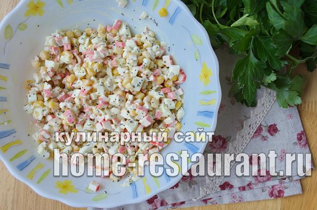 Салат в тарталетках с крабовыми палочками и красной икрой_3
