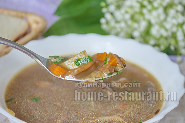 Суп из сушеных белых грибов фото, фото рецепт Супа из сушеных белых грибов