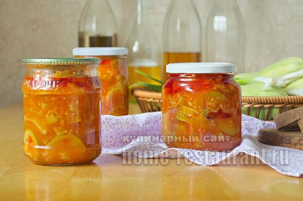 Салат из кабачков на зиму с томатной пастой и чесноком_11