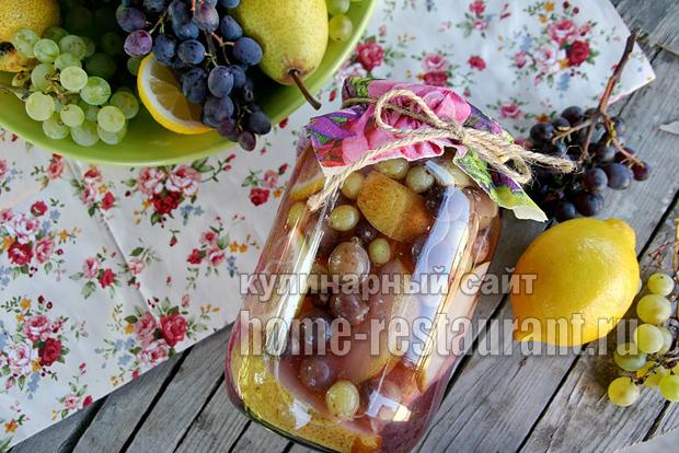 Компот из груш на зиму с виноградом фото_6