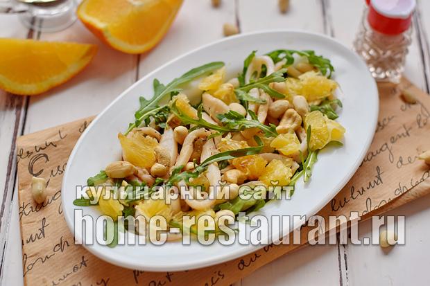 Салат с рукколой кальмарами апельсинами и кешью_12