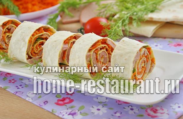 Рулет из лаваша с корейской морковкой и колбасой_2