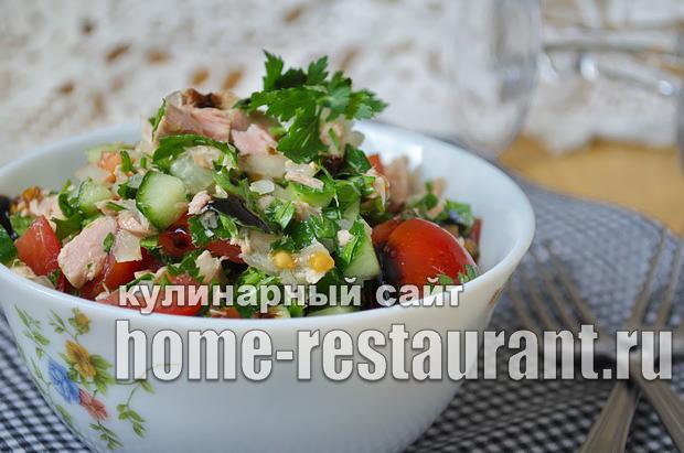 Салат из тунца консервированного рецепт классический _7