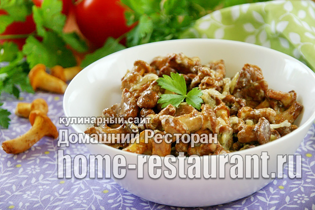 Лисички жареные в сметане рецепт с фото_01