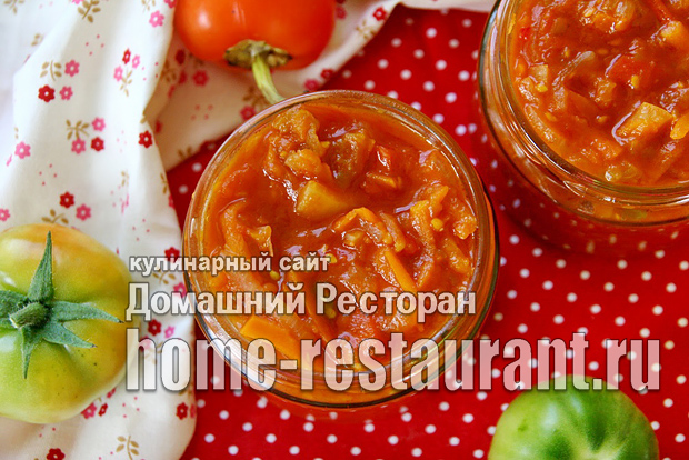 Салат из зеленых помидор на зиму с томатной пастой фото_01