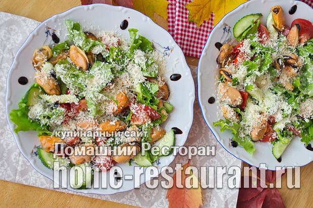 Салат с мидиями овощами и сыром фото_09
