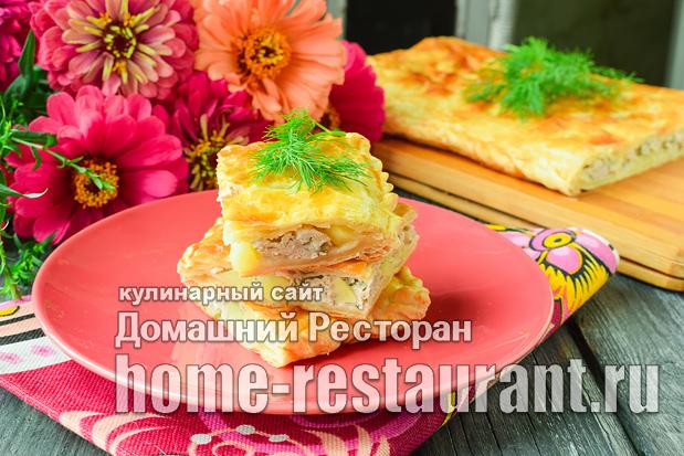пирог из слоеного теста с фаршем и картошкой фото_02