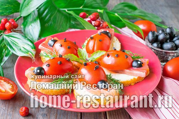 Бутерброды с красной рыбой «Божьи коровки» фото