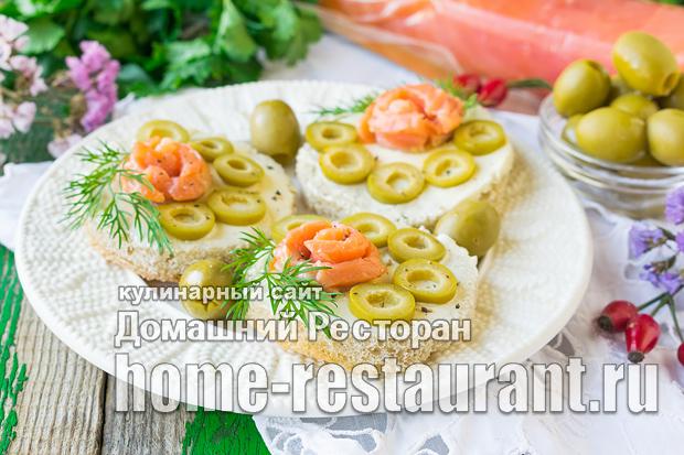 Бутерброды с красной рыбой и оливками_2