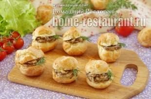 Профитроли с грибами и сыром фото, фото рецепт профитролей с грибами и сыром