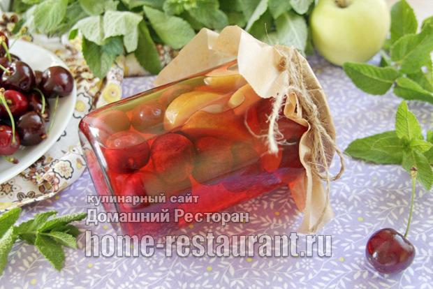 Компот из черешни с яблоками без стерилизации фото