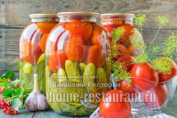 Ассорти из помидоров и огурцов на зиму фото