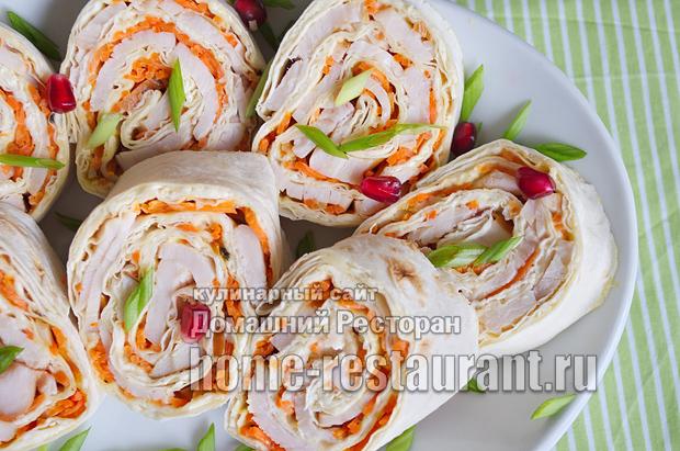 Рулетики с корейской морковкой, сыром и копченым окорочком