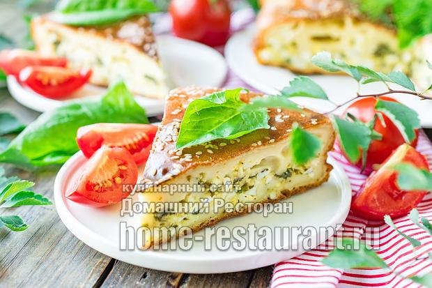 Заливной пирог со шпинатом и сыром фото