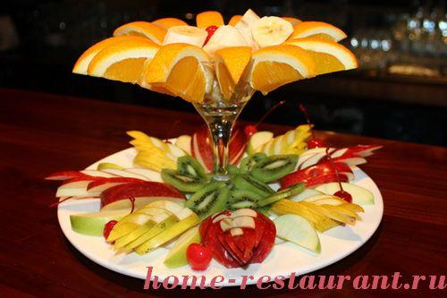 красивая нарезка фруктов,