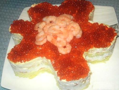 Салат морская звезда с креветками и красной икрой рецепт с