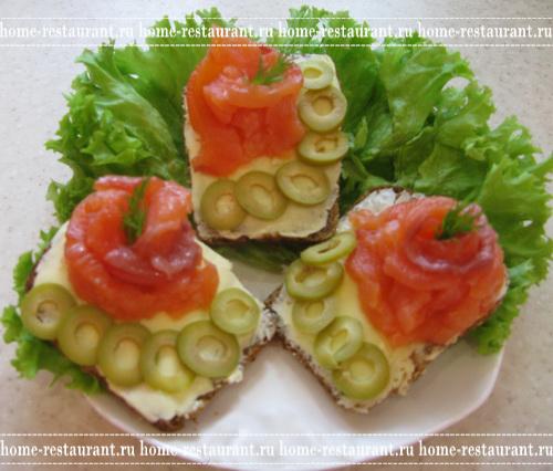 Бутерброды с красной рыбой рецепты и оформление - фото 70