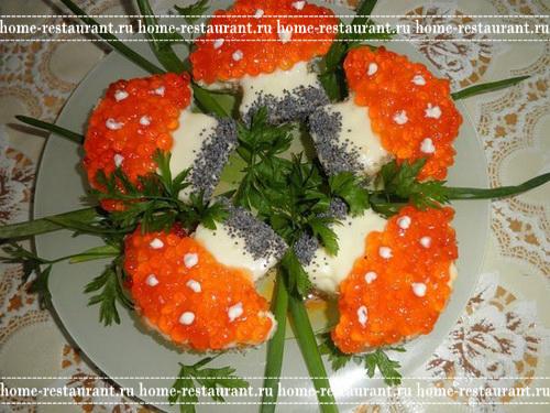"""Праздничные бутерброды с икрой """"Новогодние грибочки"""""""