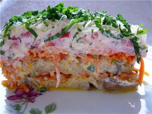 """Слоеный салат из баклажанов """"Краски лета"""""""