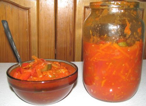 Овощной салат на зиму с помидорами