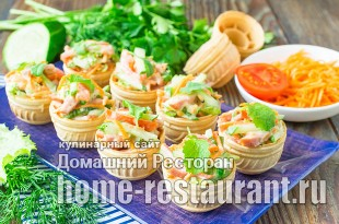 Салат в тарталетках с корейской морковью и колбасой фото