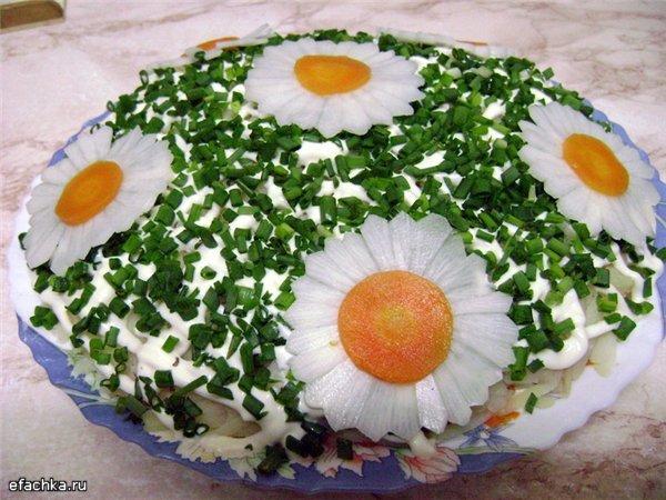 Оригинальное украшение салатов и их рецепты 4