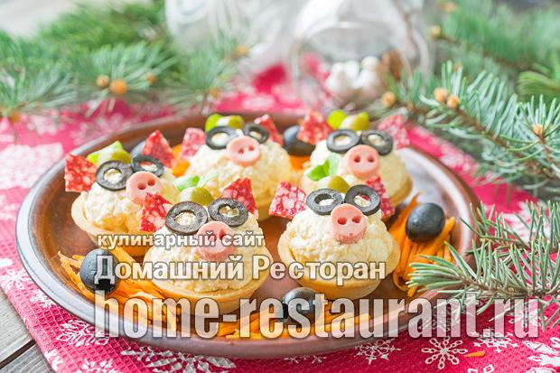Сырные шарики в тарталетках «Поросята» фото