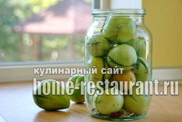 Зеленые помидоры фаршированные на зиму зеленью и чесноком фото_11
