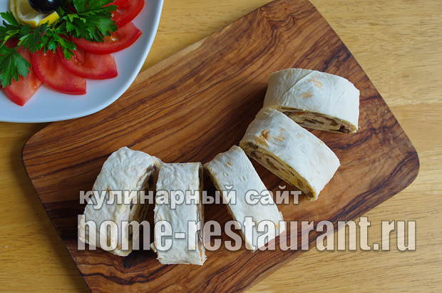 Лаваш с начинкой с грибами и сыром_11