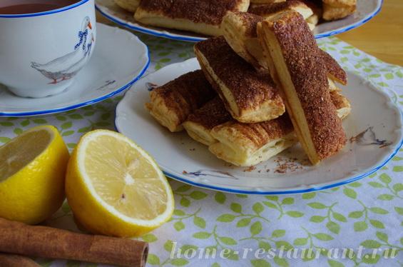 Печенье из слоеного теста с корицей