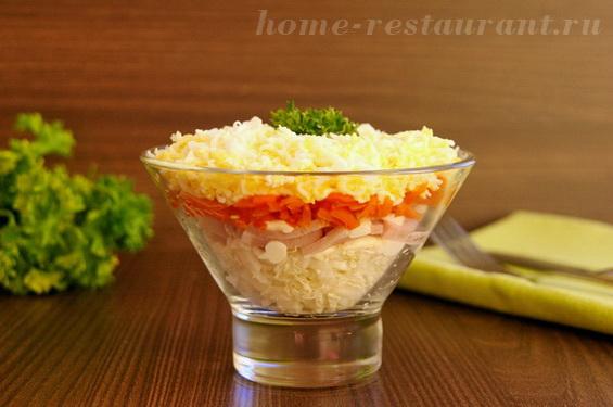 Салат-коктейль с ветчиной и корейской морковкой