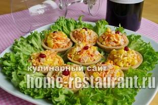 Салат в тарталетках с ветчиной и корейской морковкой_08