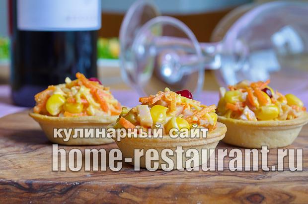 Салат в тарталетках с ветчиной и корейской морковкой_11