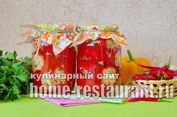 Перец, фаршированный капустой на зиму_12