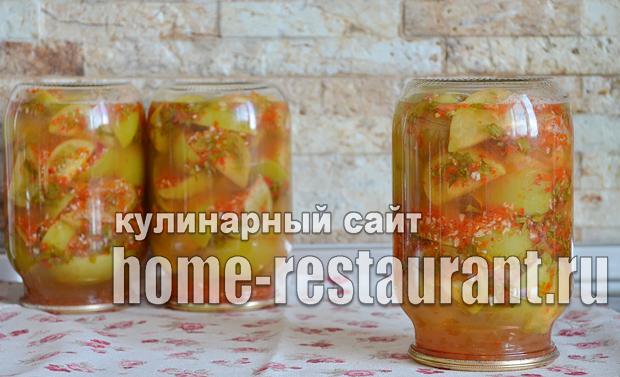 Маринованные зеленые помидоры с чесноком, перцем и зеленью_09