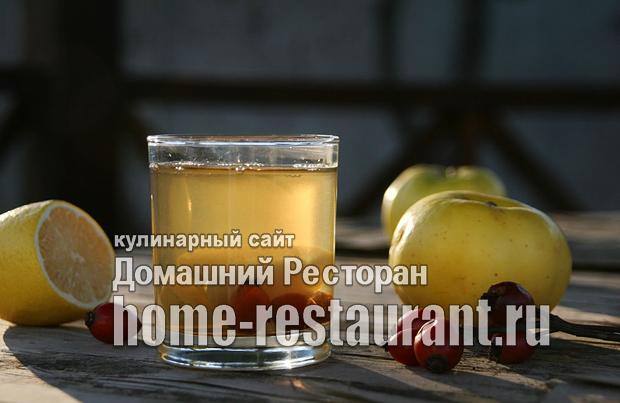Компот из яблок на зиму с шиповником и лимоном_01