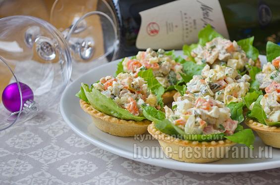 Зимний салат в тарталетках рецепт