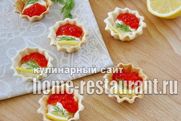 Закуска с красной икрой в тарталетках с сырно-сметанной пастой_7