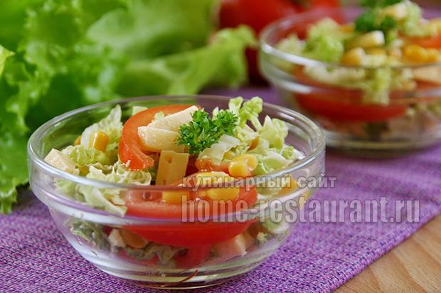Легкий салат из пекинской капусты рецепт пошагово